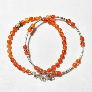 4 for $20 - Orange Jade Bracelet